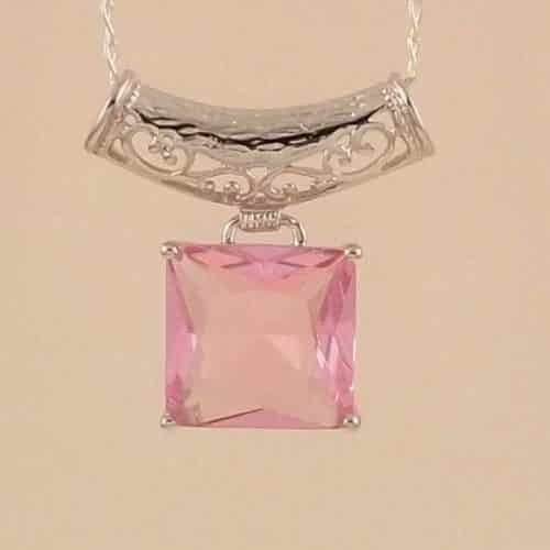 10CT SQUARE PINK MORGANITE STERLING SILVER 925 PENDANT -