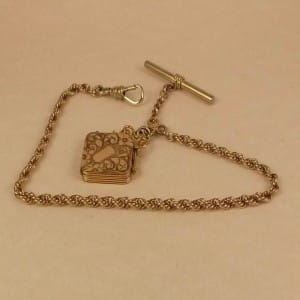 14K GOLD FILLED ANTIQUE POCKET WATCH CHAIN W LOCKET FOB1