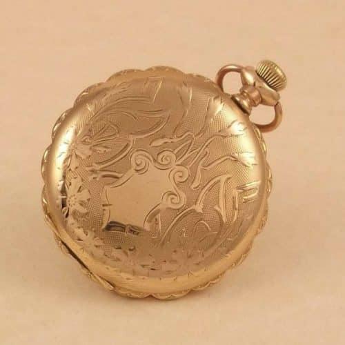 14CT. GOLD/F. YEAR 1903 SIZE 6 U.S. ELGIN 7JEWEL FULLY CLOSED HUNTER FOB-WATCH -