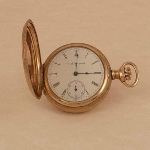 ANTIQUE 14K GOLD FILLED ELGIN POCKET WATCH,SIZE 6,15 J,HUNTER CASE -