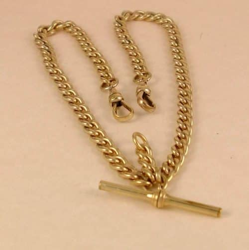 ANTIQUE 9CT ROSE ROLLED GOLD DOUBLE POCKET WATCH CHAIN, HEAVY, 36 GRAMS -