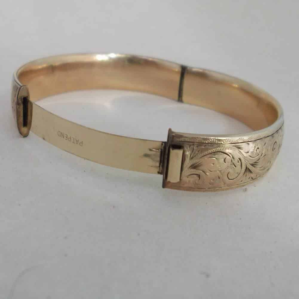 187 Vintage 9ct Rolled Gold Metal Core Oval Bangle Floral