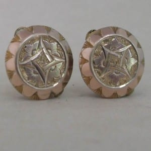 1754-ANTIQUE VICTORIAN 9CT ROSE GOLD FRONTED CUFFLINKS WESTS PATENT MASONIC DESIGN