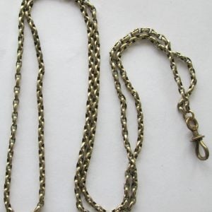 1773-WONDERFUL ANTIQUE 9CT GOLD LONG GUARD-MUFF CHAIN WITH DOG CLIP