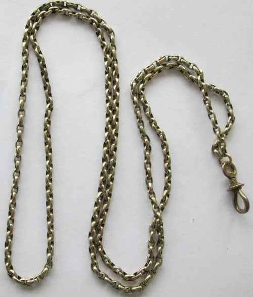 WONDERFUL ANTIQUE 9CT GOLD LONG GUARD/MUFF CHAIN WITH DOG CLIP -