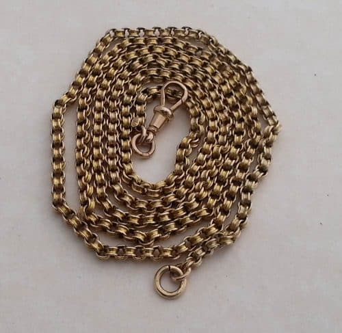 LONG VICTORIAN 9CT GOLD LADIES CHAIN NECKLACE -