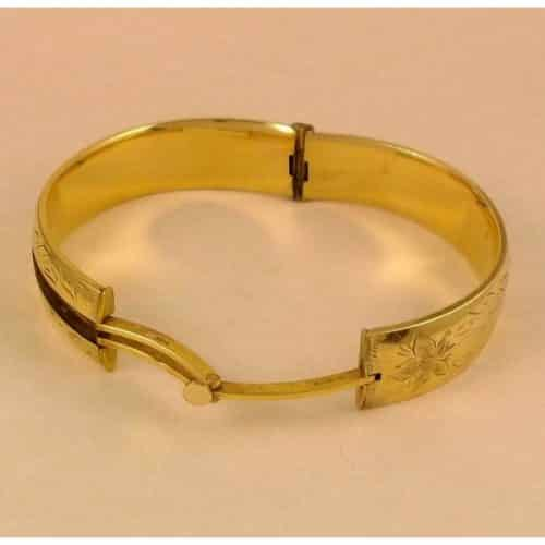 VINTAGE 1950'S 1960'S 9CT GOLD METAL CORE BUCKLE BANGLE -