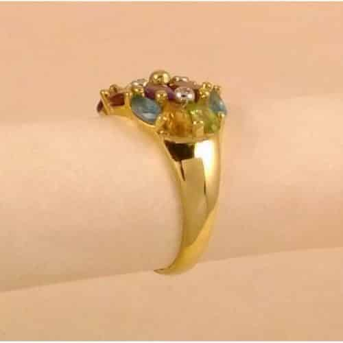 2.77CT NATURAL MULTI COLOR GEMSTONE & DIAMOND RING -
