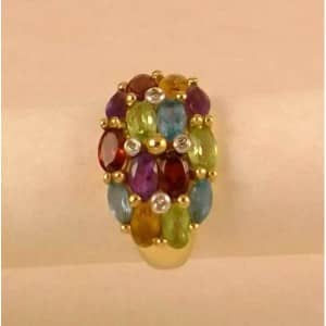 2.77CT NATURAL MULTI COLOR GEMSTONE & DIAMOND RING
