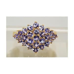 2.90CT ROUND CUT CLUSTER TANZANITE RING