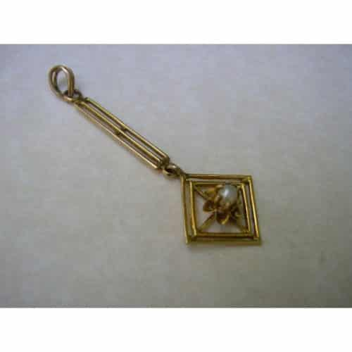 ANTIQUE 10 CT YELLOW GOLD PEARL PENDANT -