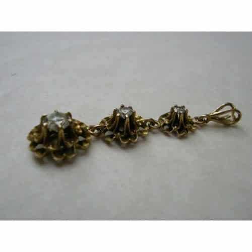 VINTAGE ESTATE DIAMOND 14K GOLD DROP PENDANT -