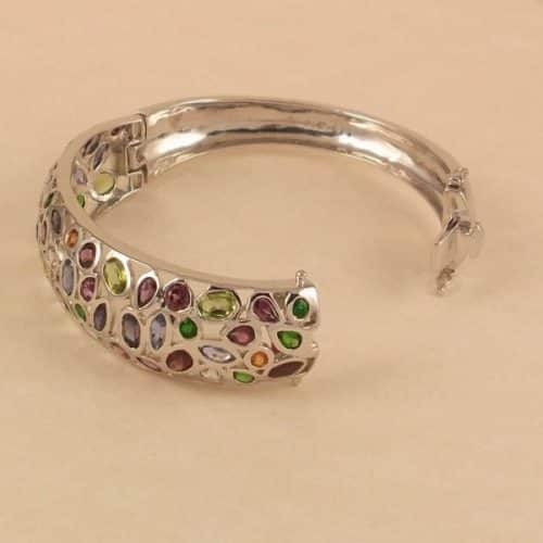 28CT NATURAL MULTI-COLORED GEMSTONE CLUSTER BANGLE MIXED CUTS -