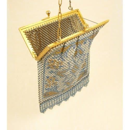 MANDALIAN MFG.CO MESH BAG PURSE VINTAGE GOLD FRAME -