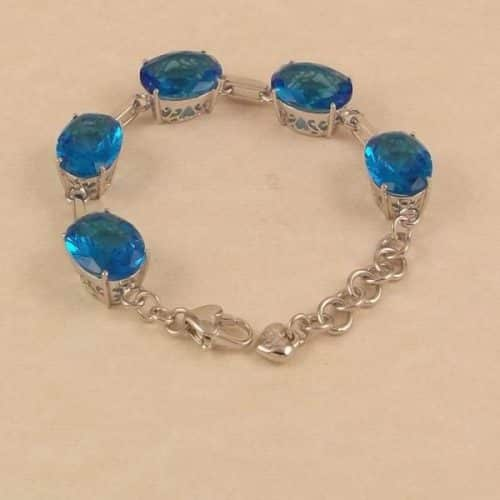 35CT OVAL AQUA BLUE QUARTZ STERLING SILVER 925 FILIGREE CHAIN LINK BRACELET -