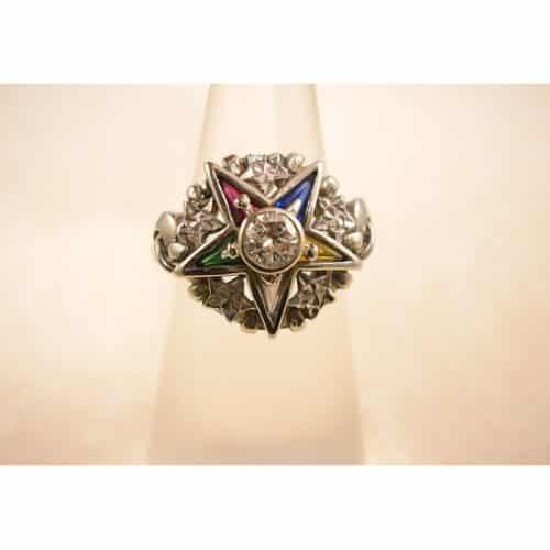 ANTIQUE GOLD MASONIC DIAMOND RING -