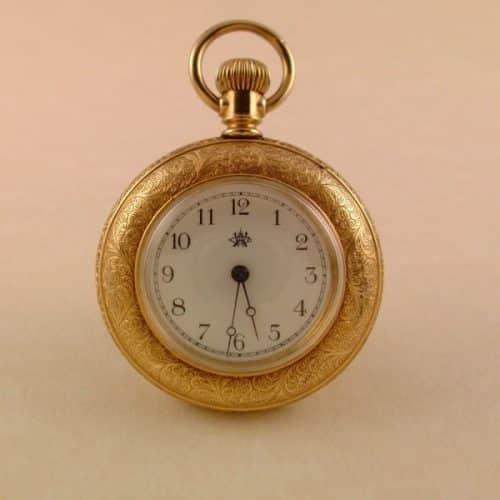 ANTIQUE WALTHAM DEMI-HUNTER LADIES POCKET WATCH CA 1889 -