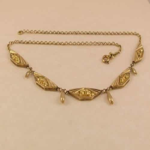 SUPER DECO FRENCH C.1920 18CT GOLD FIX ORIA NECKLACE -