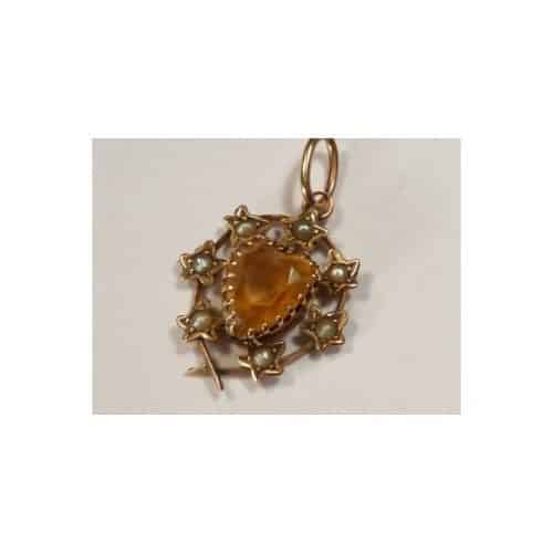 ANTIQUE CITRINE SEED PEARL 9CT GOLD PENDANT -