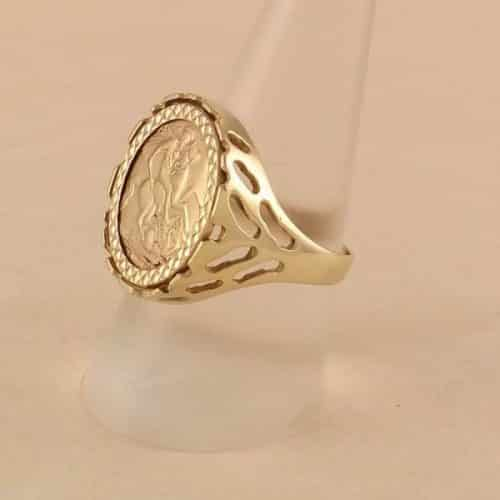 9CT GOLD ST. GEORGE RING -