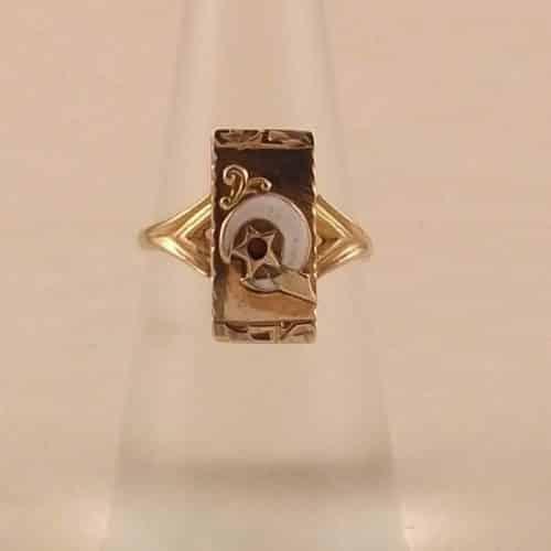 ANTIQUE VICTORIAN 10K GOLD LADIES MASONS SHRINNERS MASONIC EMBLEM RING -