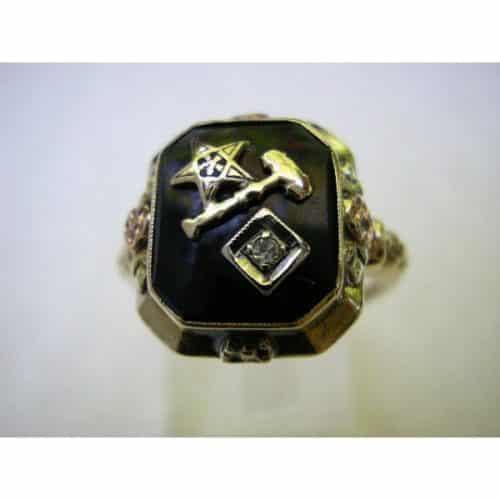 GOLD ANTIQUE VINTAGE ESTATE DIAMOND MASONIC RING -