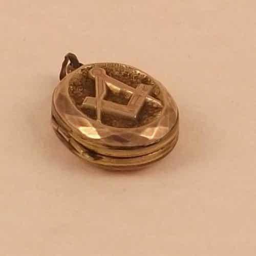 ANTIQUE VICTORIAN LARGE 9CT ROSE GOLD MASONIC LOCKET PENDANT C1880 -