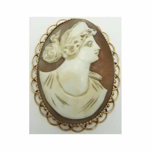 VICTORIAN 9CT GOLD SHELL CAMEO MARKED H&N -