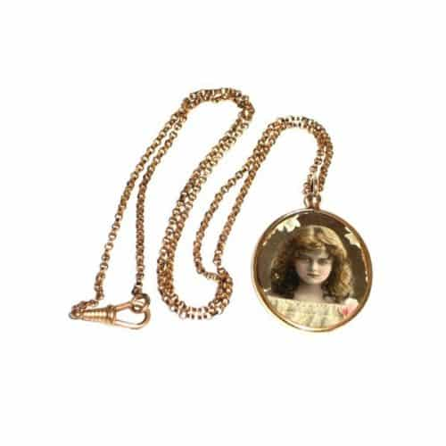 9CT ROLLED ROSE GOLD GLASS PHOTO LOCKET PENDANT & CHAIN 1914 WW1 -