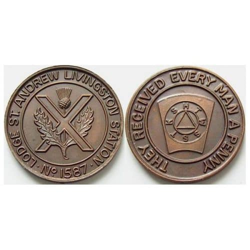 LIVINGSTON ST. ANDREW LODGE NO. 1587 MASONIC PENNY -