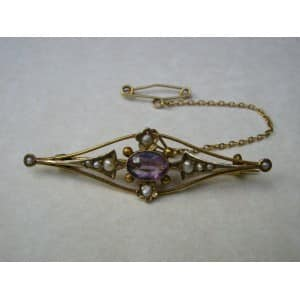 9CT GOLD ART NOUVEAU AMETHYST SEED PEARL TIE PIN BROOCH