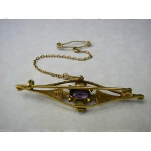 9CT GOLD ART NOUVEAU AMETHYST SEED PEARL TIE PIN BROOCH -