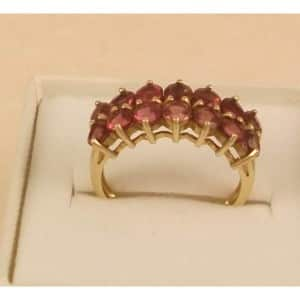 9CT HALLMARKED GOLD RUBELLITE RING SIZE O US 7.5