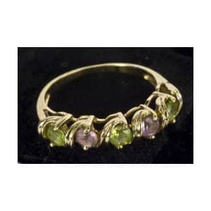 9CT SOLID GOLD NATURAL AMETHYST & PERIDOT RING