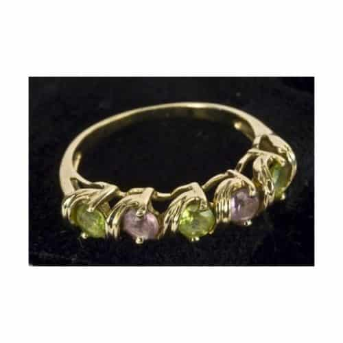 9CT SOLID GOLD NATURAL AMETHYST & PERIDOT RING -