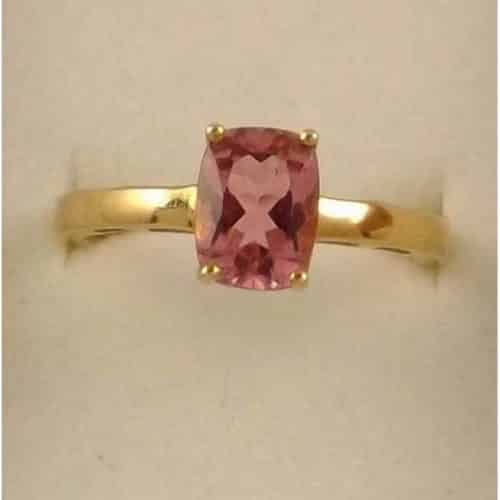 9CT SOLID HALLMARKED GOLD & TOURMALINE RING SIZE O US 7.5 -