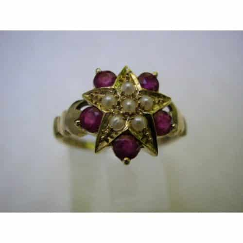 """9K GOLD ART DECO INS RICH RUBY & PEARL """"STAR"""" RING -"""