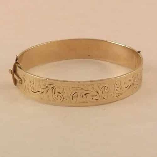 VINTAGE 9CT ROLLED GOLD BANGLE BRACELET - 1950s -