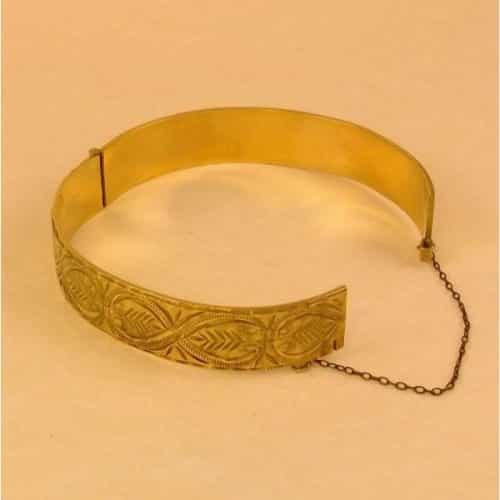 VINTAGE 9CT ROLLED GOLD HEAVY BANGLE & CHAIN -