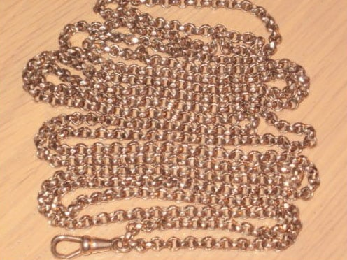 ANTIQUE 9CT ROSE ROLLED GOLD POCKET WATCH GUARD CHAIN, FACET BELCHER LINKS,HEAVY -