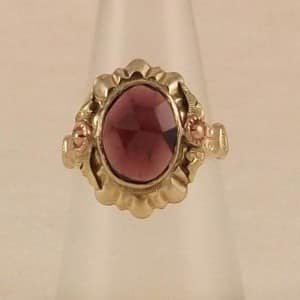 ANTIQUE 1920S ART NOUVEAU 10K ROSE GOLD BOHEMIAN ROSE CUT GARNET RING