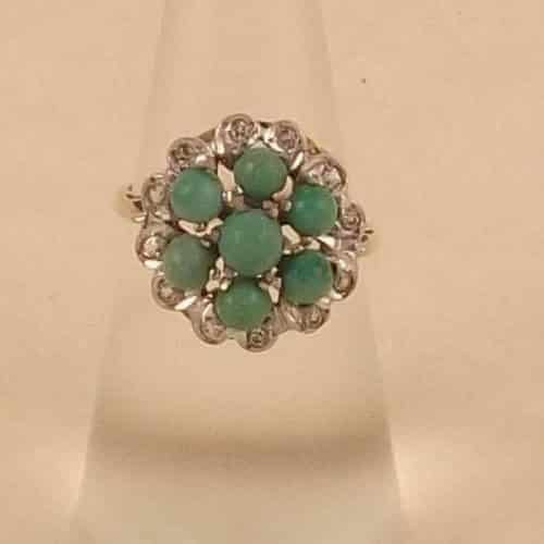 ANTIQUE 9CT GOLD GREEN TURQUOISE & WHITE STONE RING -
