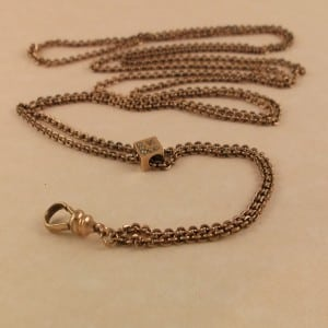 ANTIQUE VICTORIAN 10K SLIDE WATCH FOB CHAIN SEED PEARLS