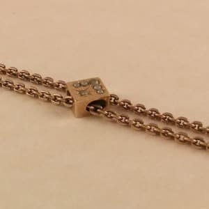 ANTIQUE VICTORIAN 10K SLIDE WATCH FOB CHAIN SEED PEARLS -