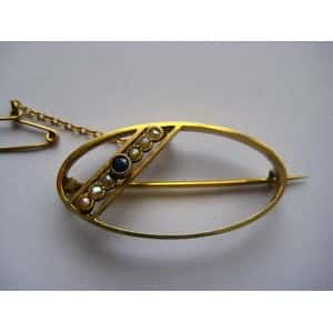 ART DECO 9 CT GOLD PEARL & SAPPHIRE PIN