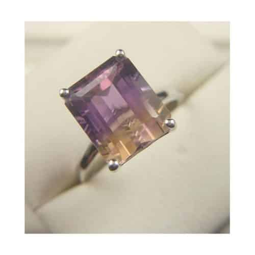 BEAUTIFUL AMETRINE SOLITAIRE RING 9CT WHITE GOLD -