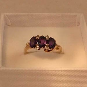 ESTATE ANTIQUE VICTORIAN 10K ROSE GOLD AMETHYST & ROSE CUT DIAMONDS