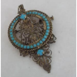 FRENCH ART NOUVEAU TURQUOISE WHEEL 9CT GOLD FILIGREE VINTAGE BROOCH