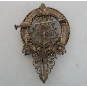 FRENCH ART NOUVEAU TURQUOISE WHEEL 9CT GOLD FILIGREE VINTAGE BROOCH / PENDANT. -