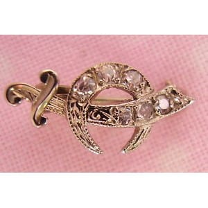 GOLD SHRINER DIAMOND PIN -
